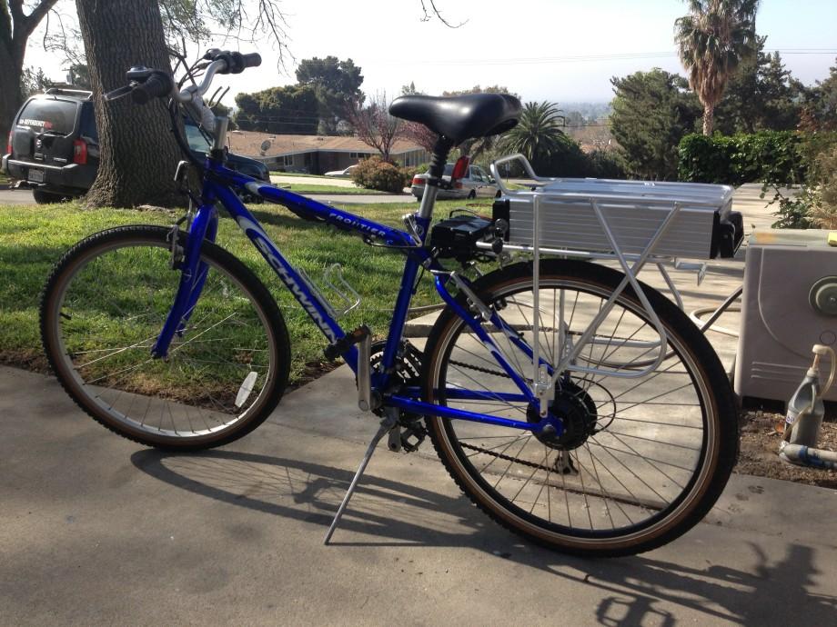 48v E Bike Kit Geared Motor Bike With Rack Battery